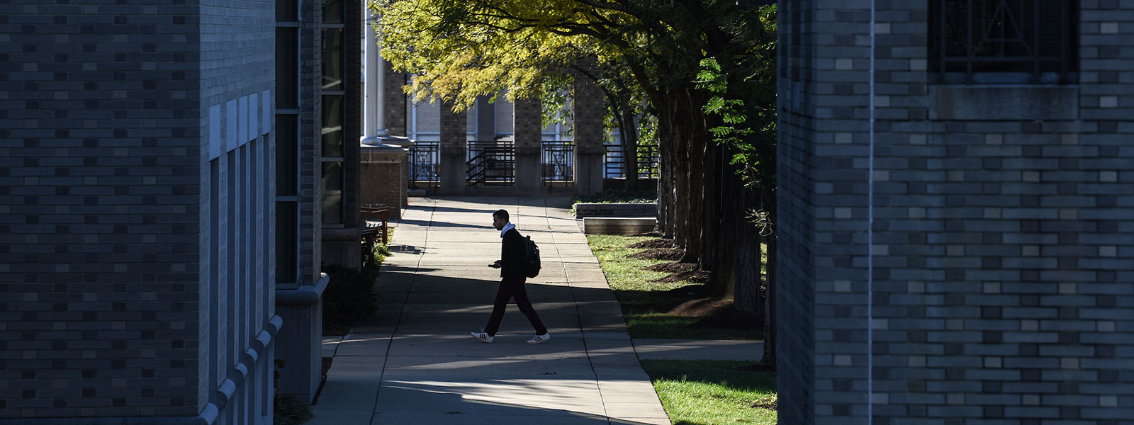Student walking between campus buildings